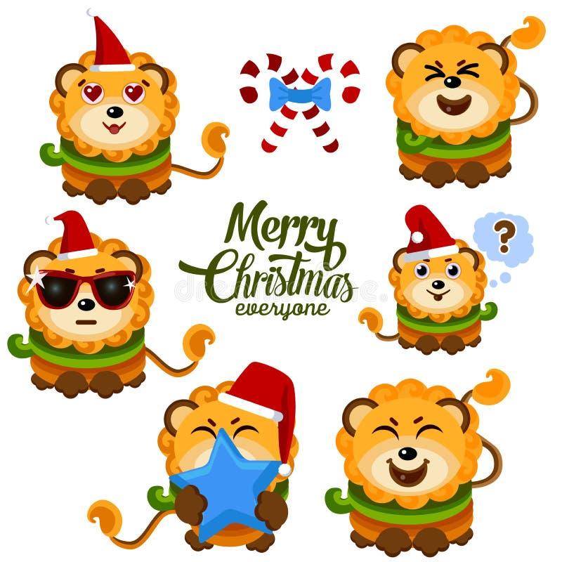 Schöner Löwe in einem Weihnachtshut, -schal und -gläsern Vector Illustration für Grußkarte, Plakat oder Druck auf Kleidung stock abbildung
