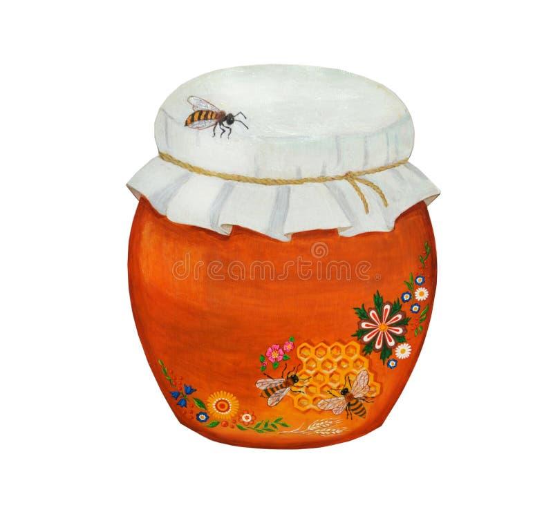 Schöner Lehm, keramischer Topf mit Honig und drei Bienen Getrennt auf wei?em Hintergrund stock abbildung