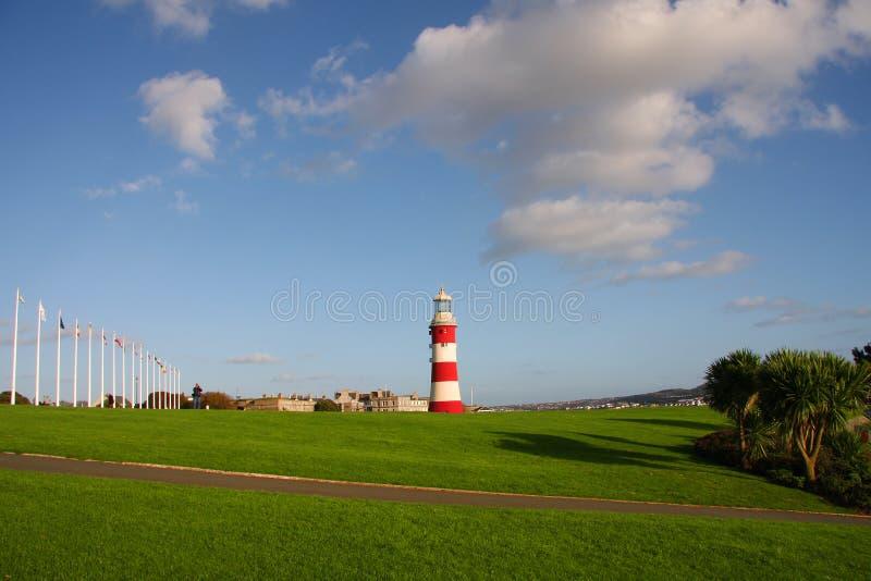 Schöner Leuchtturm in Plymouth, Großbritannien lizenzfreies stockbild