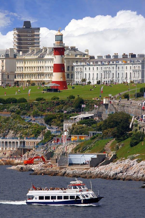 Schöner Leuchtturm in Plymouth, Großbritannien stockfotos