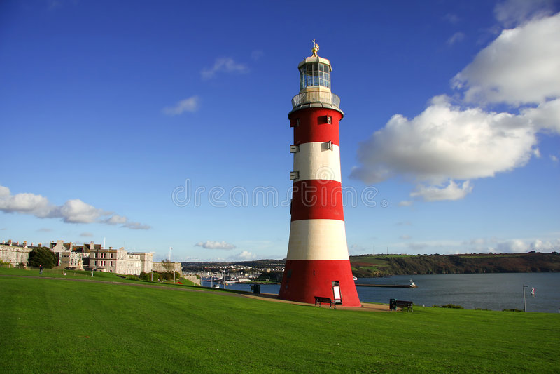 Schöner Leuchtturm in Plymouth, Großbritannien lizenzfreies stockfoto