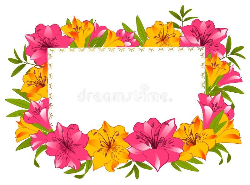 Schöner Lilienblumenstrauß mit Fahne lizenzfreie abbildung