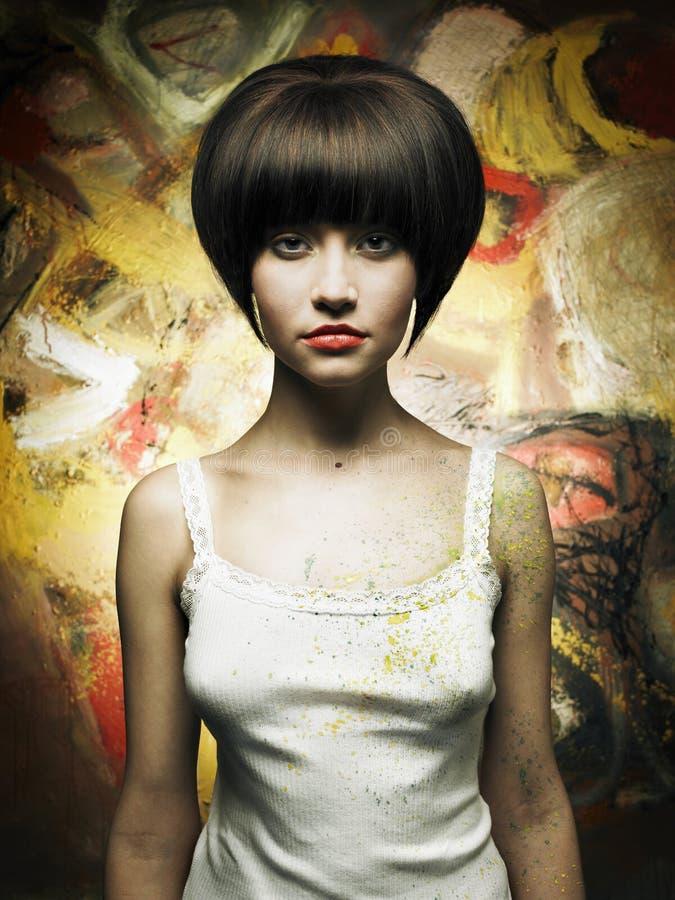 Schöner Mädchenmaler stockfotos