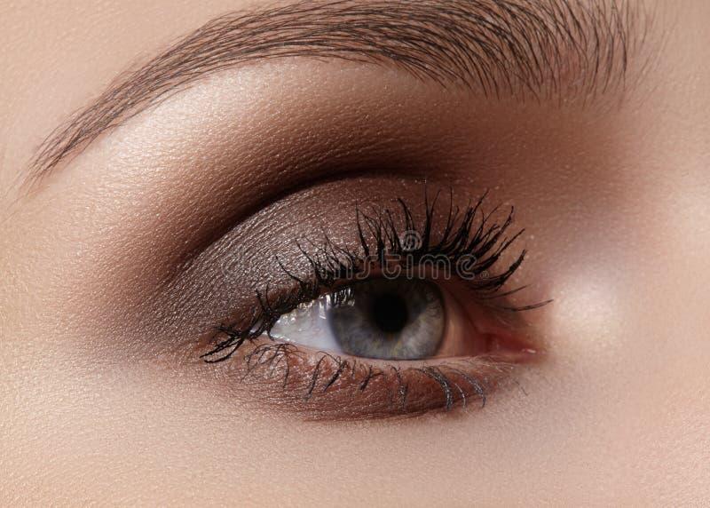 Schöner Makroschuß des weiblichen Auges mit rauchigem Make-up Perfekte Form von Augenbrauen stockbilder