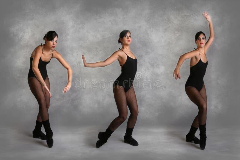 Schöner moderner Tänzer in den verschiedenen Haltungen stockbilder
