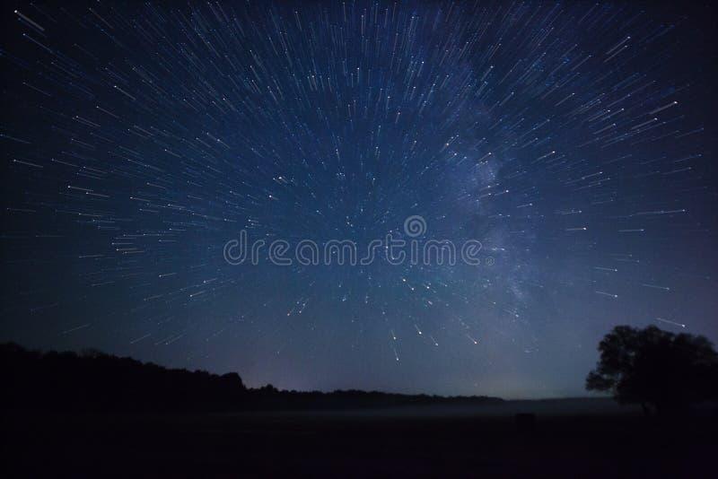 Schöner nächtlicher Himmel, die Milchstraße, Sternspuren und die Bäume stockfoto