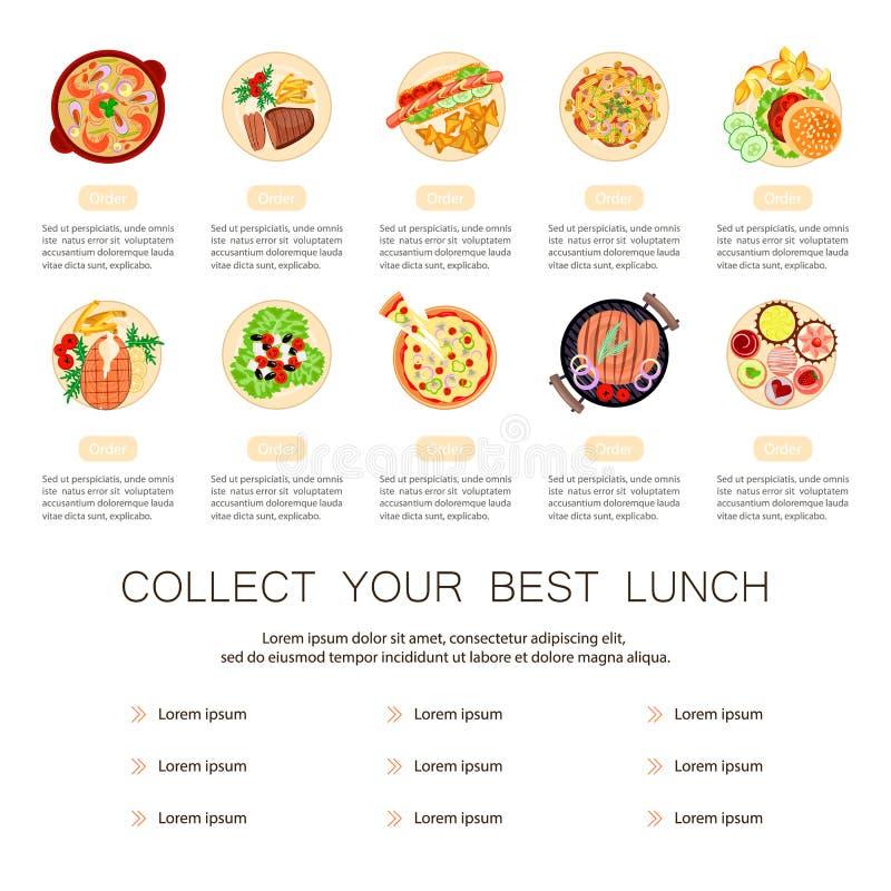 Schöner Nahrungsmitteltellersatz vektor abbildung