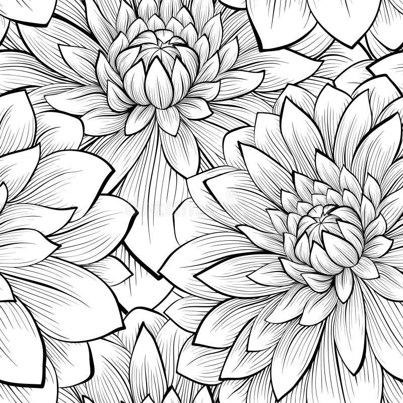 Schöner nahtloser Hintergrund mit einfarbigen Schwarzweiss-Blumen stock abbildung