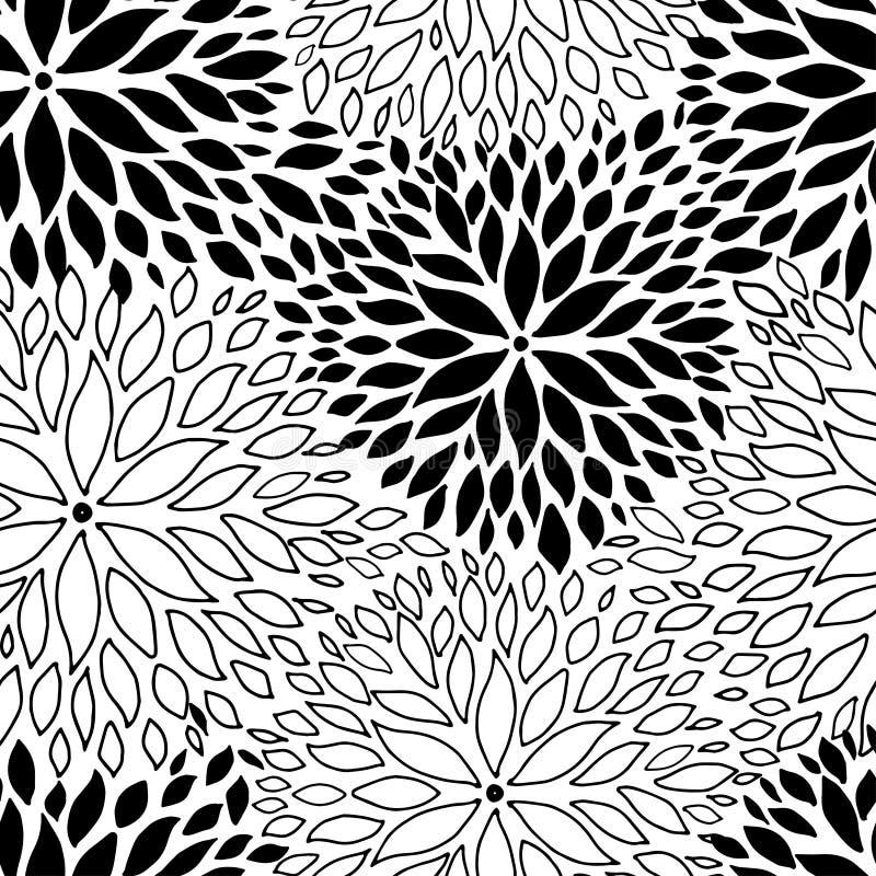 Schöner nahtloser Hintergrund mit einfarbigen Schwarzweiss-Blumen vektor abbildung