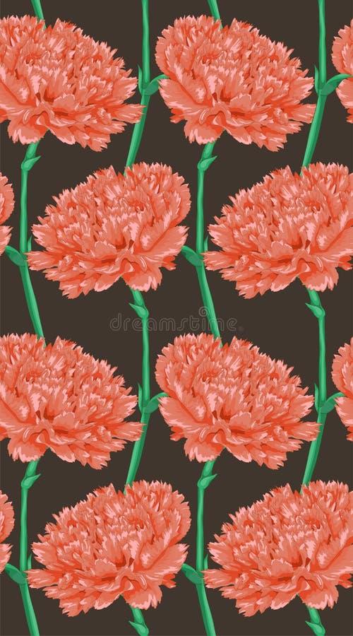 Schöner nahtloser Hintergrund mit rosa Gartennelke stock abbildung