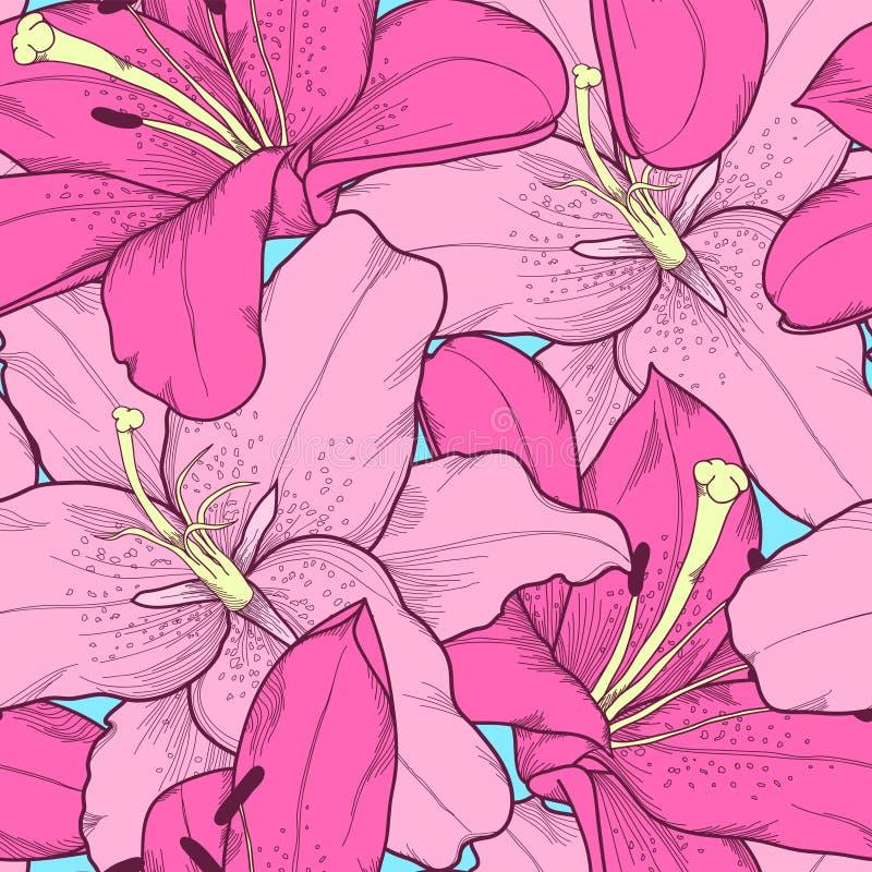 Schöner nahtloser Hintergrund mit rosa Lilienhandzeichnung. lizenzfreie abbildung