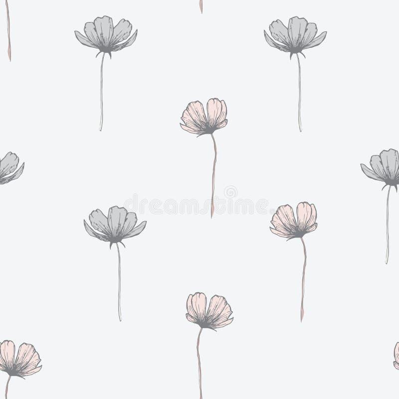 Schöner nahtloser Musterentwurf der wilden Blumen vektor abbildung
