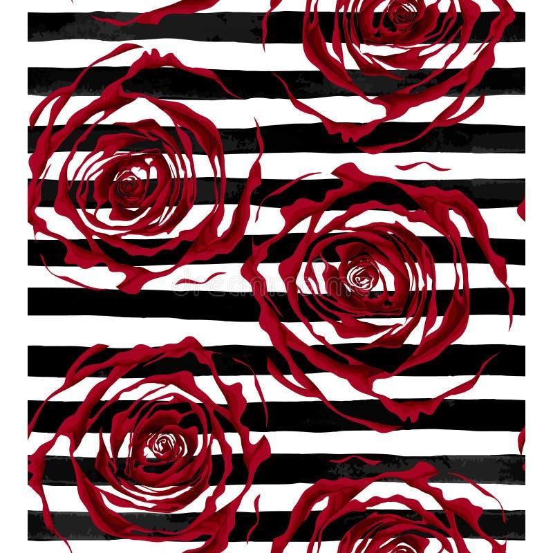 Schöner nahtloser Musterentwurf von roten Rosen auf gestreiftem Schwarzweiss-Hintergrund lizenzfreie abbildung