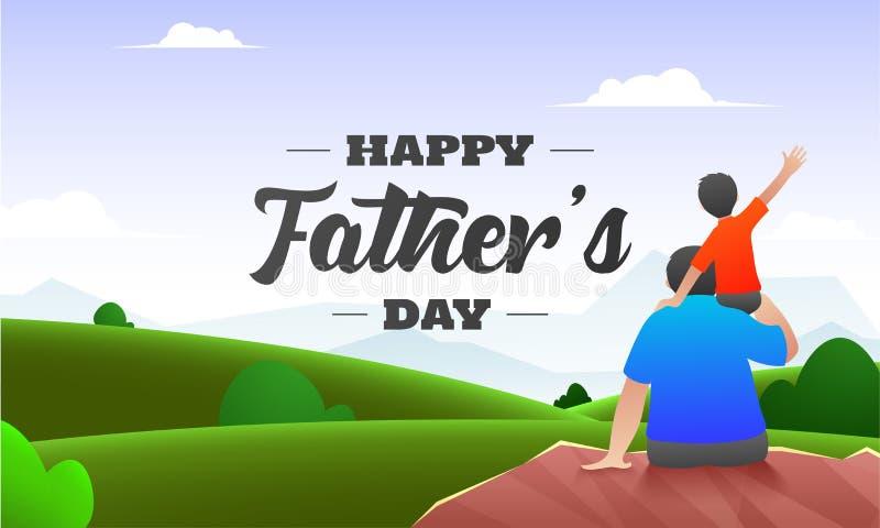 Schöner Naturhintergrund mit der hinteren Ansicht des Sohns sitzend auf seinen Vaterschultern für den glücklichen Vatertag lizenzfreie abbildung