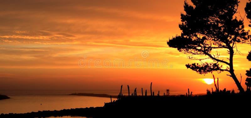 Schöner Oregon-Sonnenuntergang an der Anlegestelle stockbilder