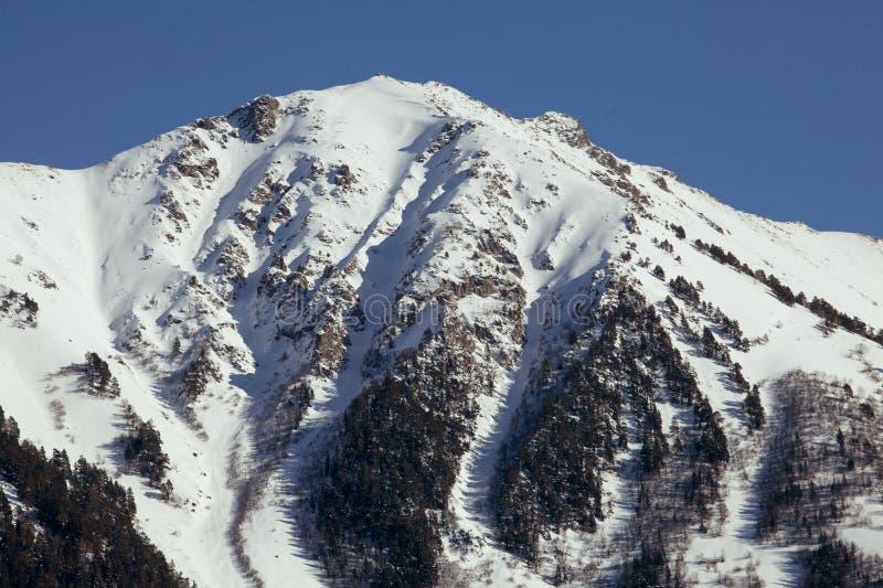 Schöner Panoramablick des Gebirgszugs mit Schnee-mit einer Kappe bedeckten Spitzen, an einem klaren Wintertag lizenzfreie stockfotografie