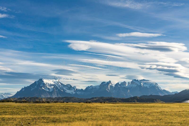 Schöner Panoramablick des goldenen gelben Grases mit Hintergrund der Natur cuernos Gebirgsspitze mit Wolke im Herbst, Torres-del lizenzfreies stockfoto