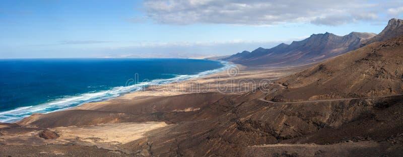 Schöner Panoramameerblick der Draufsicht von Fuerteventura-Insel stockfoto