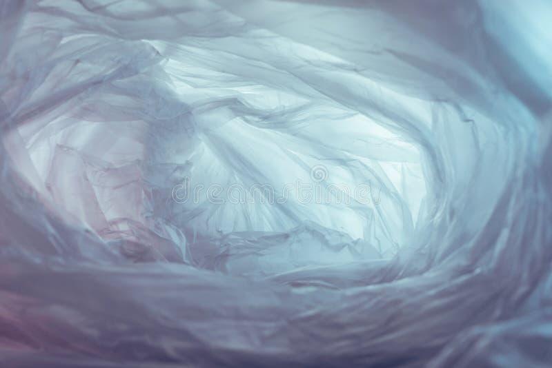 Schöner Plastikbeutel abstrakter Hintergrund Kein Plastikbeutel-Konzept, retten Sie die Welt, schützen Sie die Erde stockfoto