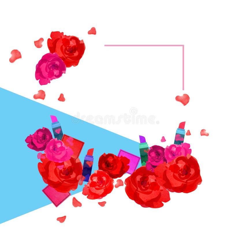 Schöner Rahmen von Rosenlippenstiften und -kästen lizenzfreie abbildung