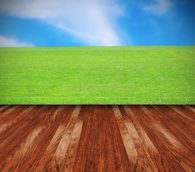 Schöner Rasen und brauner Terrassenboden lizenzfreie stockfotos
