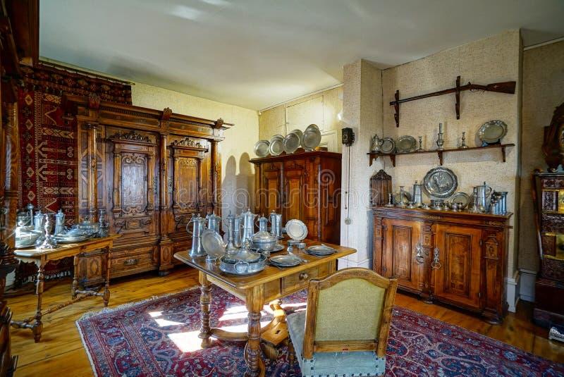 Schöner reicher klassischer Innenraum XIX des Jahrhunderts stockbild