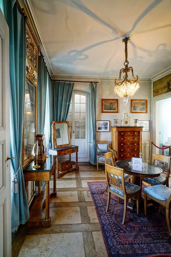 Schöner reicher klassischer Innenraum XIX des Jahrhunderts lizenzfreies stockbild