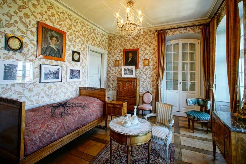 Schöner reicher klassischer Innenraum XIX des Jahrhunderts lizenzfreies stockfoto