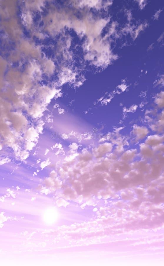 Schöner rosafarbener und purpurroter Himmel lizenzfreie abbildung