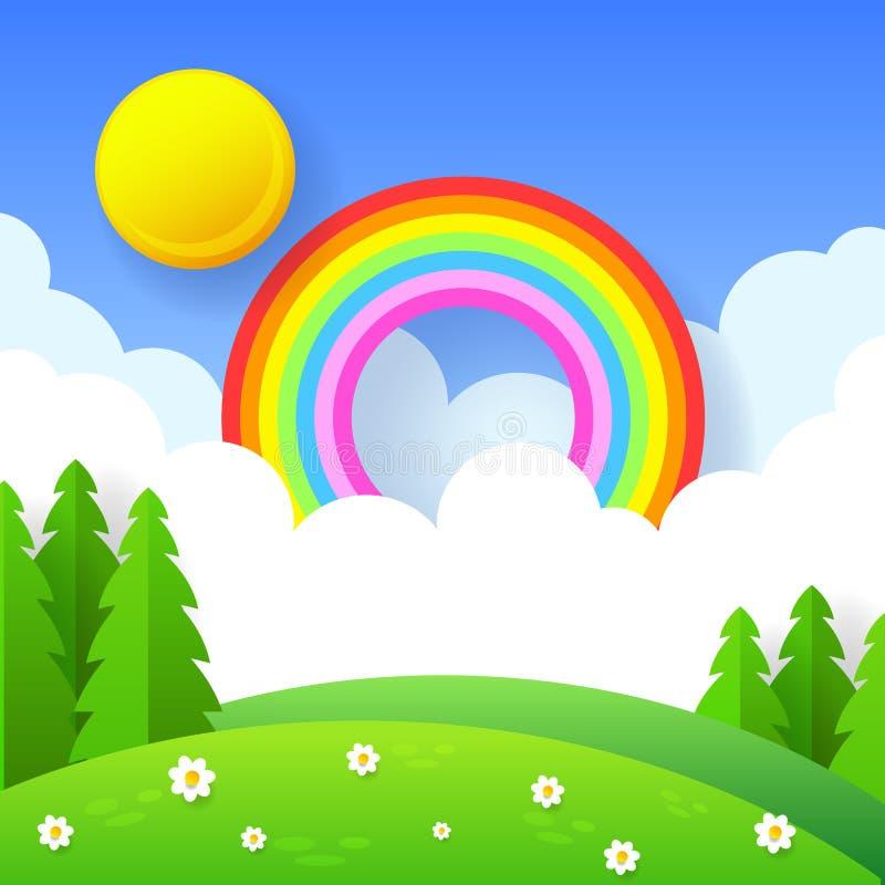 Schöner Saisonhintergrund mit hellem Regenbogen, Blumen im Gras stockbild