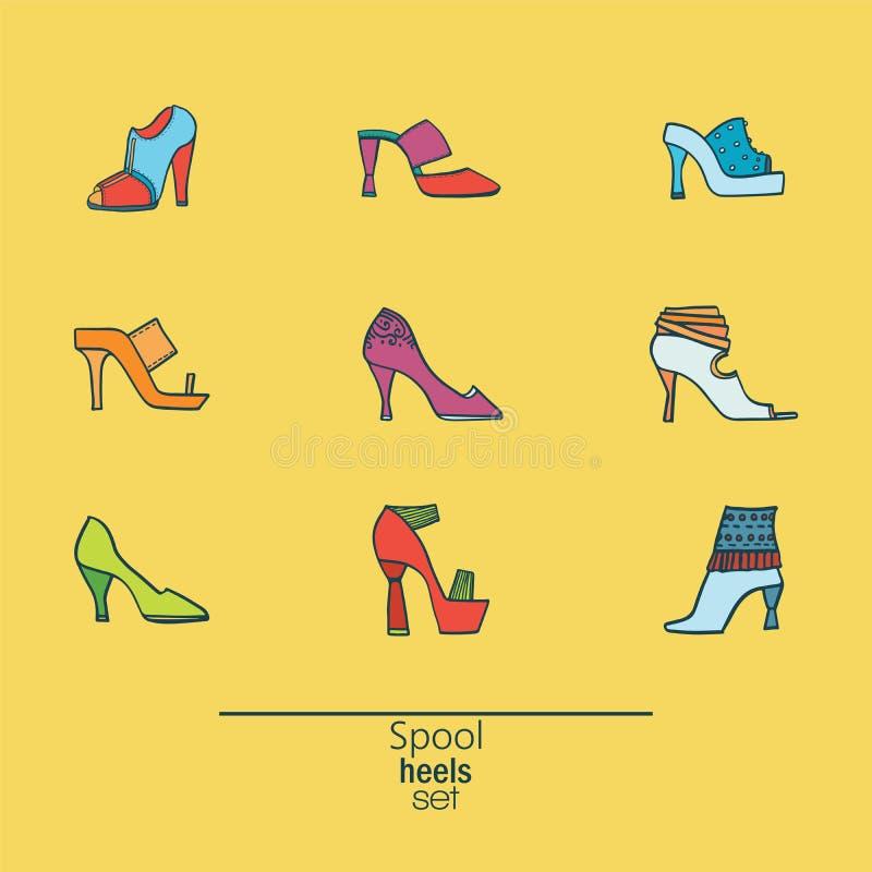Schöner Satz verschiedene Schuhe und Sandalen, lokalisiert auf gelbem Hintergrund Vector Bündel mit 9 unterschiedliche Sommer- un lizenzfreie abbildung