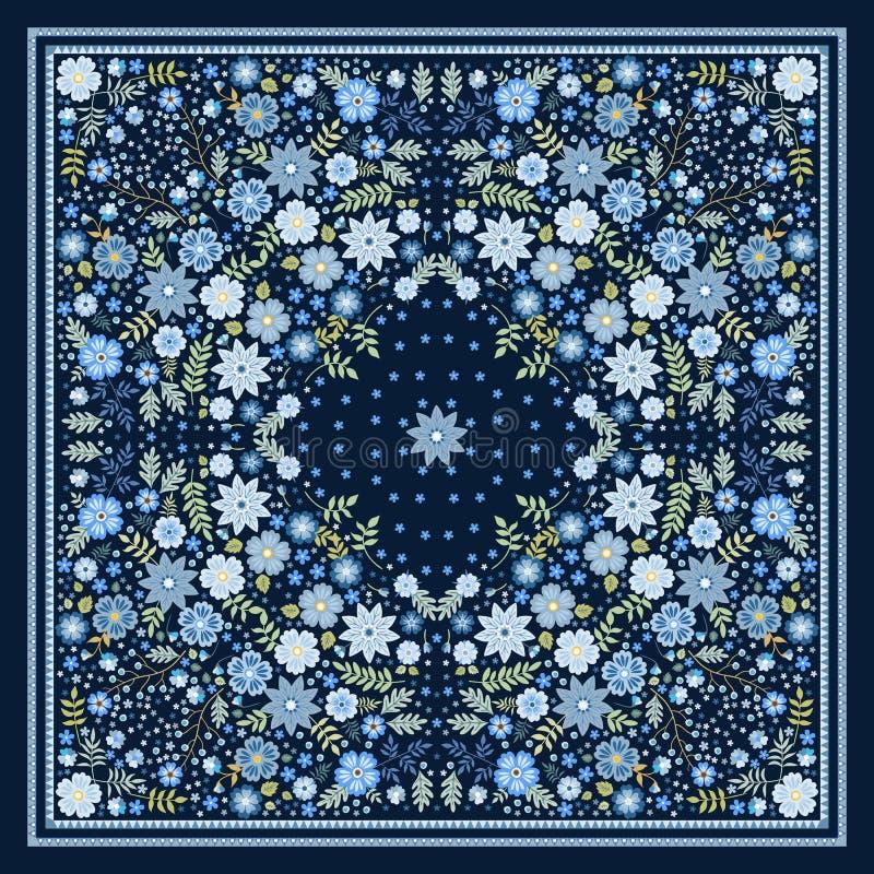 Schöner Schal mit blauen Blumen Reizende Tischdecke Bandanadruck kissenbezug Druck für Gewebe Halstuchquadrat-Designmuster lizenzfreie abbildung