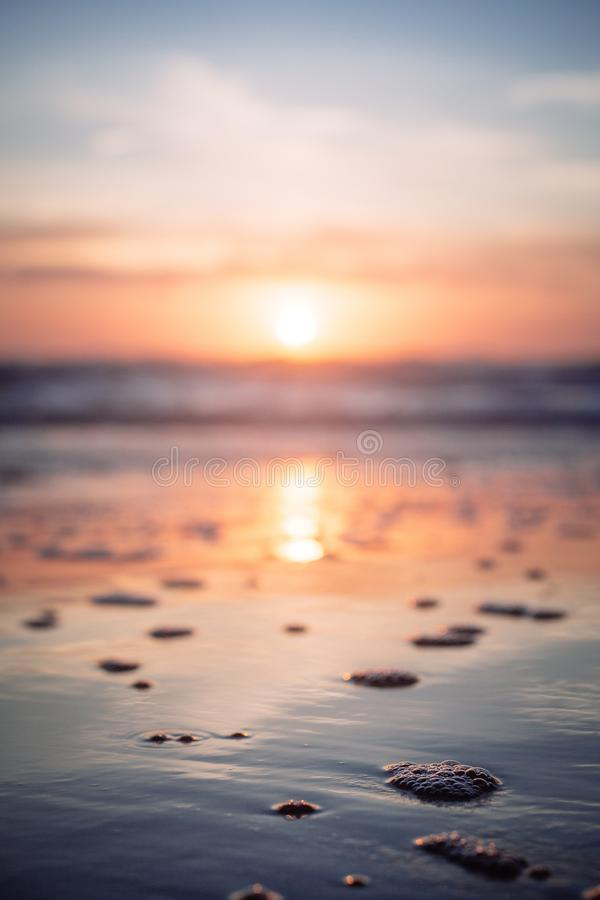 Schöner Schuss des Meeres während des Sonnenuntergangs im Umarmungs-Punkt, Oregon stockbild