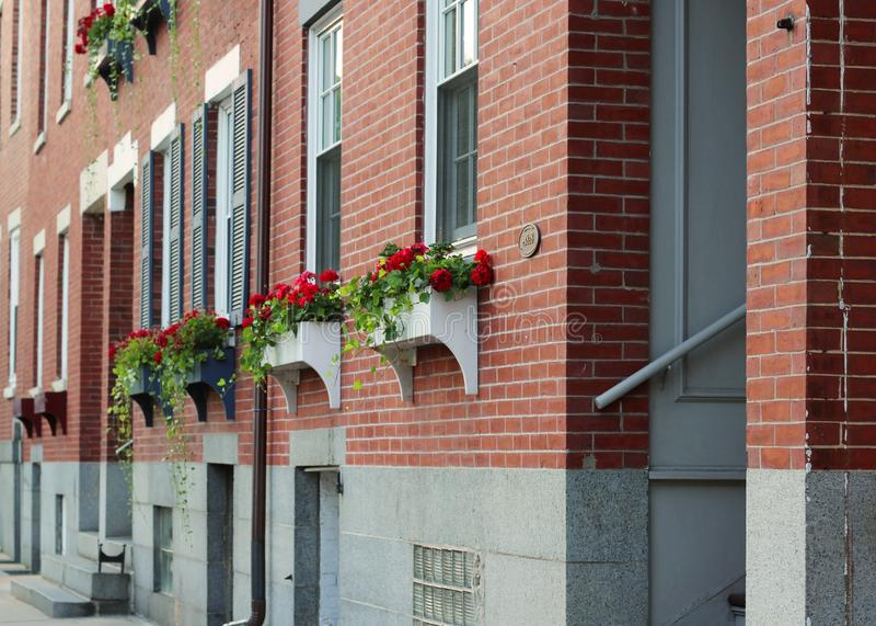 Schöner Schuss eines Backsteinbaus mit den Blumen gegründet vor Fenstern lizenzfreie stockfotografie