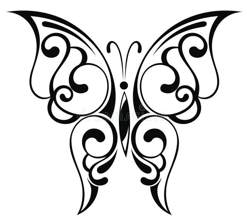Schöner schwarzer Schmetterling vektor abbildung