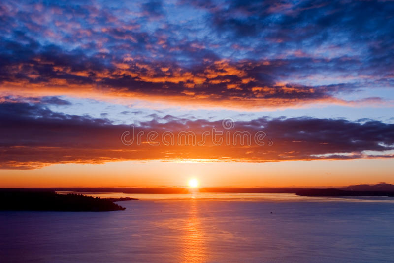 Schöner Seattle-Sonnenuntergang stockbilder