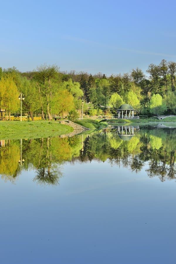 Schöner See in den Strahlen von Dämmerung lizenzfreies stockbild
