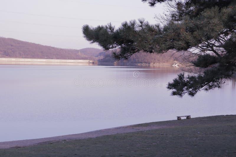 Schöner See und Bank auf dem Strand lizenzfreies stockfoto