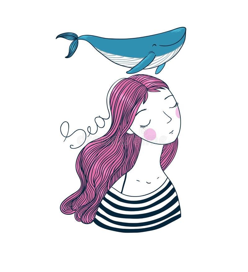 Schöner Seemann des jungen Mädchens mit einem Wal lizenzfreie abbildung