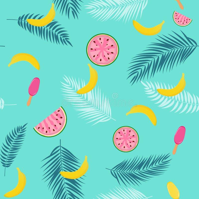 Schöner Sommer-nahtloser Muster-Hintergrund mit Palme-Blatt-Schattenbild, Wassermelone, Banane und Eiscreme Vektor stock abbildung