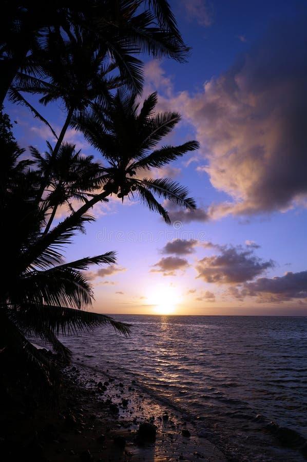 Schöner Sonnenaufgang über dem Ozean mit den Wellen, die auf felsiges Beac sich bewegen lizenzfreie stockfotografie