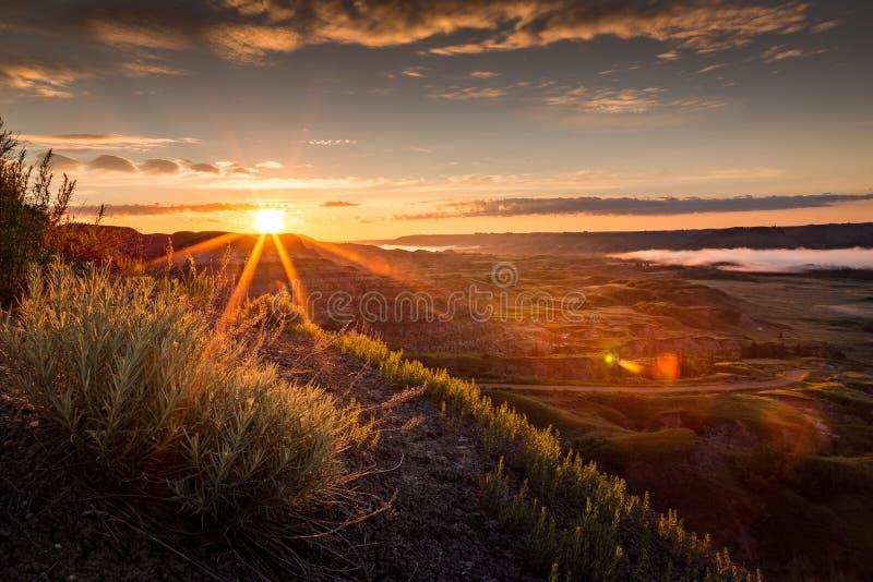 Schöner Sonnenaufgang im trockenen Insel-Büffel springen provinziellen Park, Alberta lizenzfreie stockbilder