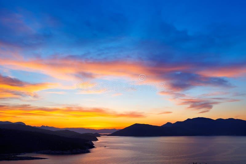 Schöner Sonnenuntergang über Ägäischem Meer lizenzfreie stockbilder
