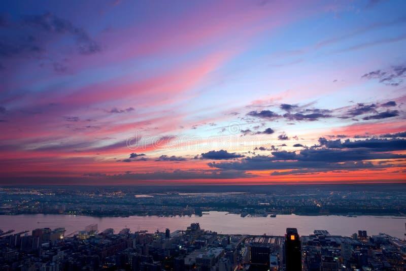 Schöner Sonnenuntergang über New-Jersey lizenzfreies stockfoto