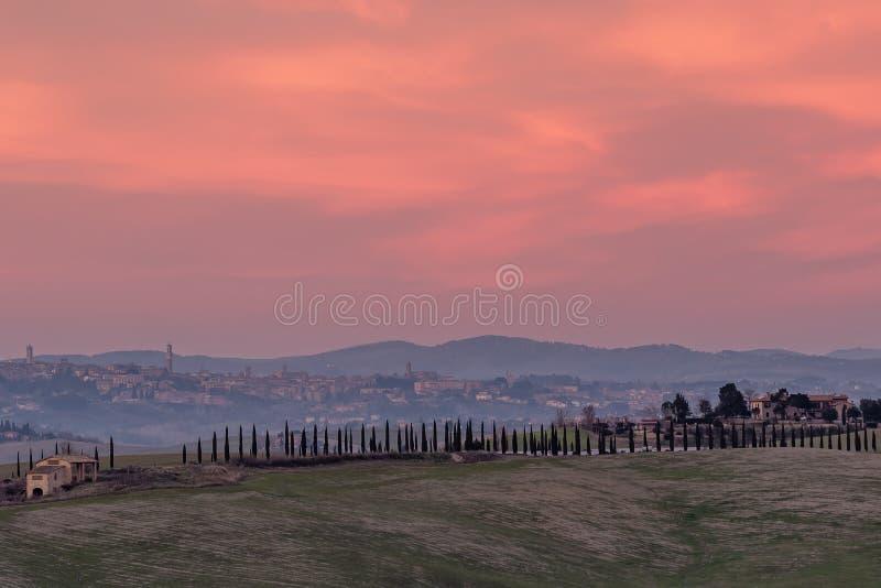 Schöner Sonnenuntergang auf der Landschaft mit Siena im Hintergrund, Toskana, Italien lizenzfreie stockfotos