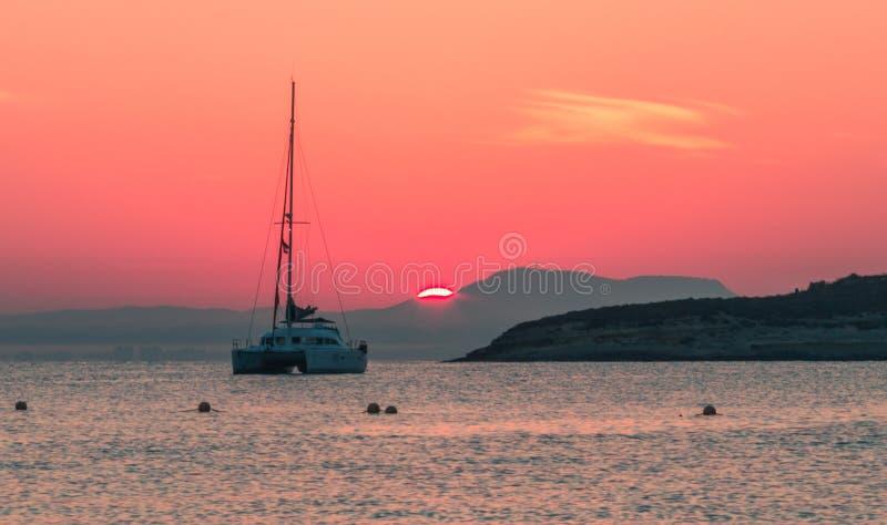 Schöner Sonnenuntergang bei Magaluf Mallorca stockfotos