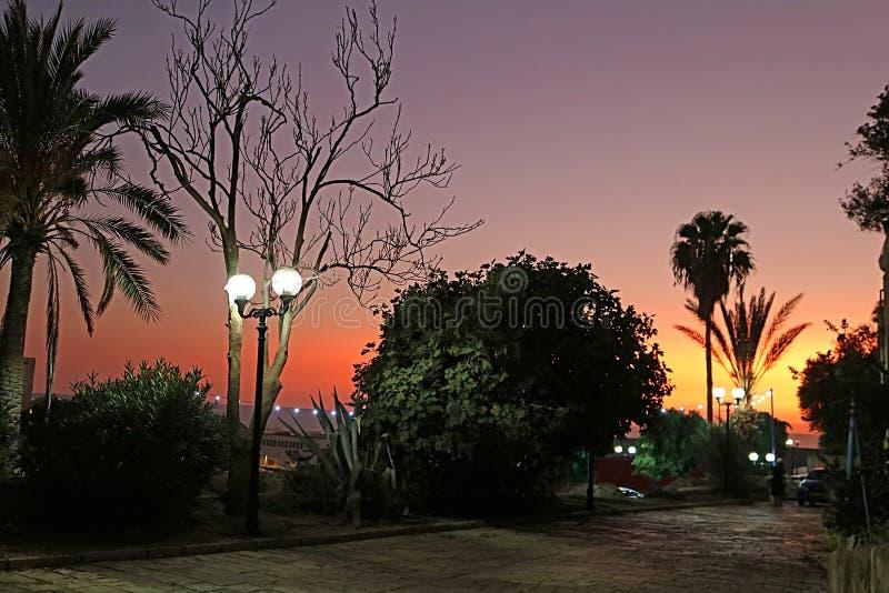 Schöner Sonnenuntergang nahe dem Damm in der alten Steinstadt Jaffa herein stockbild