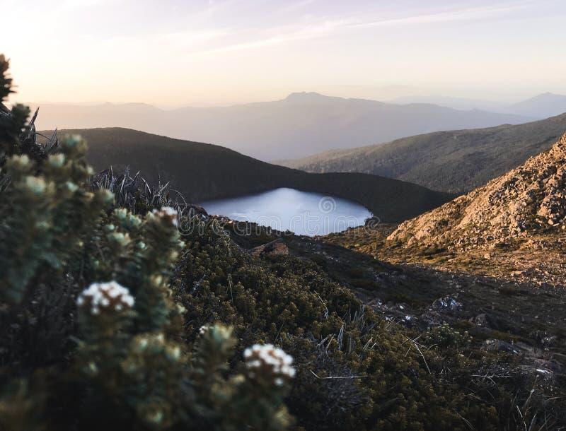 Schöner Sonnenuntergangansicht hartz Spitzensee esperance See in Tasmanien-Berg lizenzfreies stockfoto
