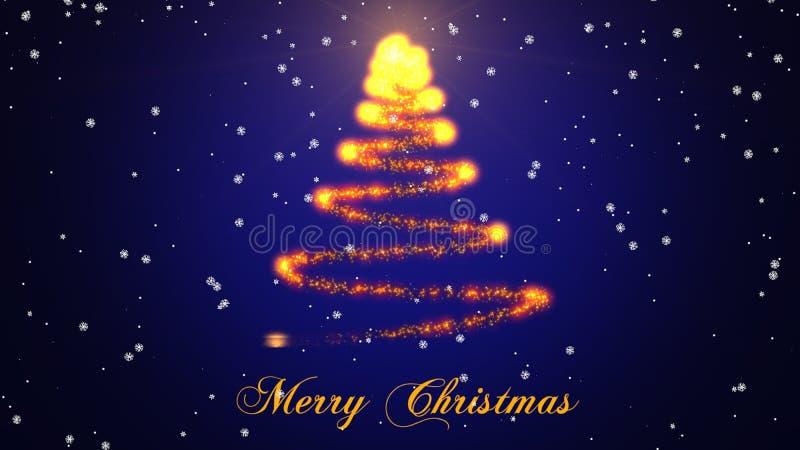 Schöner Sparkly-Weihnachtsbaum auf farbigem Hintergrund Weihnachtsgeschenk EntwurfsIllustration lizenzfreie abbildung