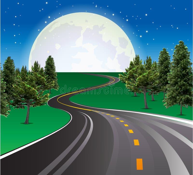 Schöner steigender Mond, Landstraßenstraße in der ländlichen Szene stock abbildung